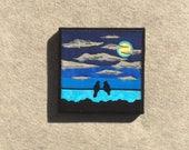 Full Moon Feelings, 8x8 inches, original sewn fabric artwork, ready to hang canvas