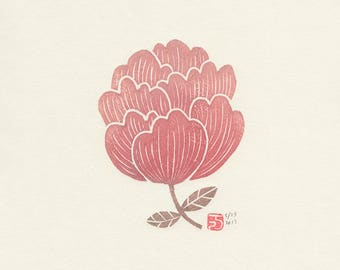 pink peony mokuhanga print