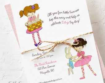 Birthday Party Invitations - Calling all You Bunnies, Girl's Birthday (Style 13460)