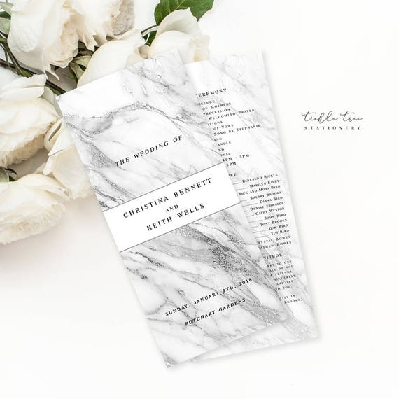 Semi Custom Wedding Stationery - Programs - Modern Marble (Style 13729)