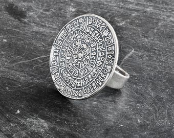 Greek Phaistos Disc Ring, Sterling Silver Big Ring, Ancient Minoan Cretan Ring, Statement Ring, Greek Mystery, Wearable Art, Greek Jewellery
