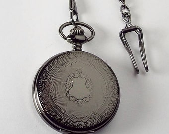 Pocket Watch Custom Engraved Black Mechanical Wind Up Pocket Watch with Front Shield and Skeleton Back - Hand Engraved