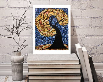 Autumn Tree Print - FREE Shipping - Bedroom Art Print -  Landscape Artwork - Yellow Tree Art - Art Nouveau Artwork - Stained-Glass Art