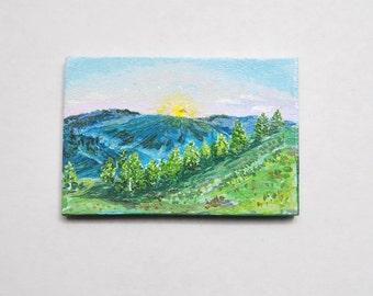 Hand Painted mountain landscape Magnet . Artwork Home Garden Decor.