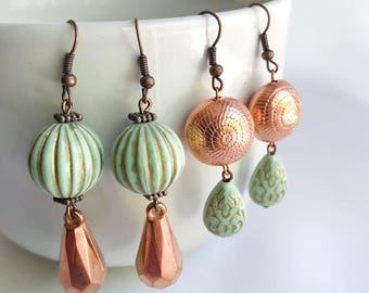 bead statement earrings, copper and turquoise, bohemian, dangle earrings, vintage beads, fancy jewelry, turquoise earrings, shabby chic