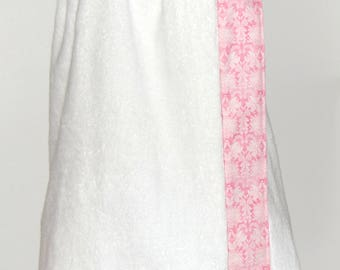 Monogrammed Terry Cloth Towel Wrap with a Pink and Blush Vintage Print Trim