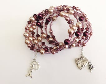 Pink Breast Cancer Awareness Charm Bracelet, Personalized Multi Strand Hope Bracelet, Wrap Boho Bracelet with pearls, beads and charms OOAK
