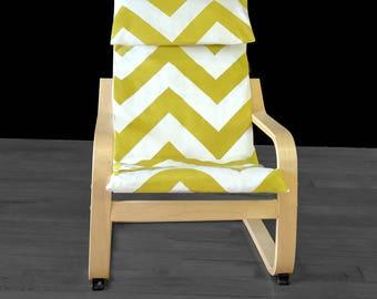 Big Green Zig Zag IKEA KIDS Poang Cushion Slipcover, Kids Poang Nursery Room Chair Cover