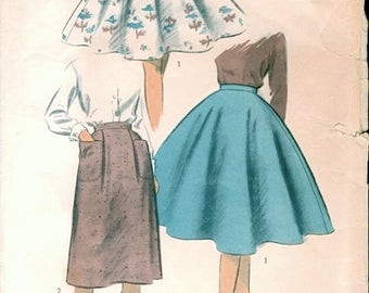 Neat Vintage 1950s Advance 6968 Girls Full Circular or Straight Skirt Sewing Pattern W24