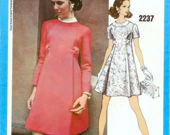 Fab Mod Uncut Vintage 1960s Vogue Americana 2237 Designer Chuck Howard High Fitted A Line Dress with Pleats Sewing Pattern B32.5 with Label