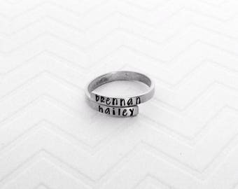Name Rings - Personalized Rings - Mother's Day Gift Ideas - Brushed Silver Rings - The Charmed Wife - Hand Stamped Jewelry - Unique Rings