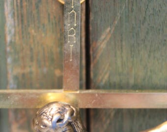 Vintage Wall Cross - Gold Metal INRI