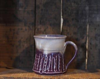 Carved mug in Purple Haze by Village Pottery Prince Edward Island PEI