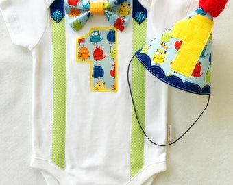Baby Boys First Birthday Monster Bow Tie and Suspenders Theme Party Outfit Bodysuit and Party hat