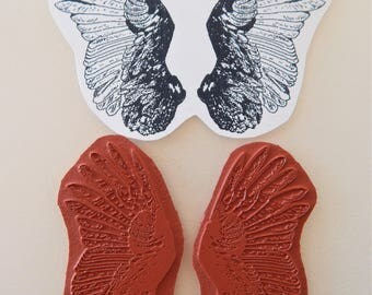 Angel Wings Unmounted Rubber Stamp 2 Pieces Bird Feathers Altered Art Stamp  g