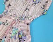 """Pretty 1940s Pink & White Striped Iris Cotton Zip Front House Dress Large Xl up to 34"""" waist"""