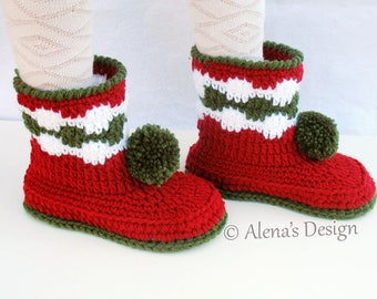 Crochet Pattern 066 - Children's Pom-Pom Boots Kid's Youth Sizes Crochet Red Booties Girls Boys Boot Pattern Slippers Winter Christmas Gift