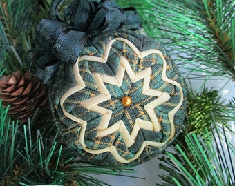 "Quilted Ornament - 2.5"" -  Longaberger Traditions Plaid Fabric - Christmas Ornament - Ornament Exchange, Co-Worker Gift, Tree Ornament"