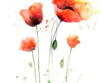 Watercolor Flowers Print - Orange Poppy Flowers