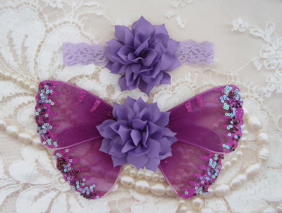 Plum & Lavender Glitter Baby Butterfly Wings AND/OR Headband - newborn photos, photo prop, newborn photographers by Lil Miss Sweet Pea