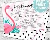 Printed Flamingo Flamingle Birthday Invitations and Envelopes