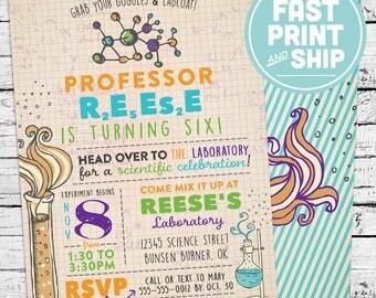 Printed Science Chemistry Birthday Invitations and Envelopes