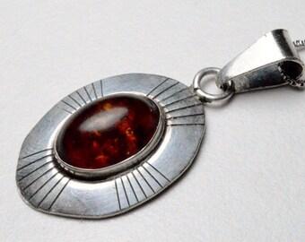 SALE Vintage Sterling Silver Southwestern Amber Ella Peter Native American Signed Pendant Necklace