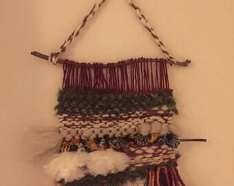 HandWoven Wool Wall Hanging/ Wall Art,/Woven Tapestry/fleece Wall Art/Wool Tapestry/Weaving/Wool Roving/Fabric Hanging/loom weaving