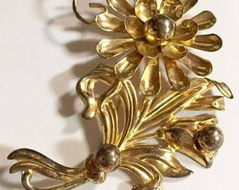 Vintage Retro Gold Washed Sterling Silver Flower Brooch