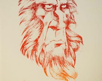 Limited Edition Original Screenprint, Old Man, 9x12 or 12x20, Portrait, Poster, Printmaking, Bearded Man, Grandfather