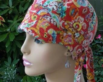 Chemo Hat Cancer Cap Women's Hair Loss Hat Cotton Hat Reversible MEDIUM-LARGE