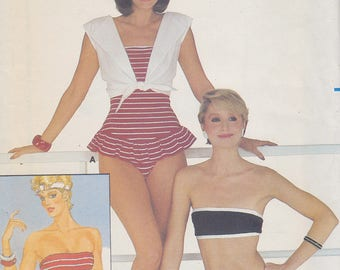 1980s Flirty Swimsuit and Cover Up Vintage Pattern, Butterick 4869, Strapless, Halter Neck One Piece Maillot, Bikini Ruffled Skirt, Bolero