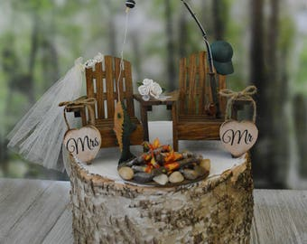 Fishing pole fishing themed wedding cake topper camping fishing hunting rustic country campfire Adirondack chairs lake house bride groom