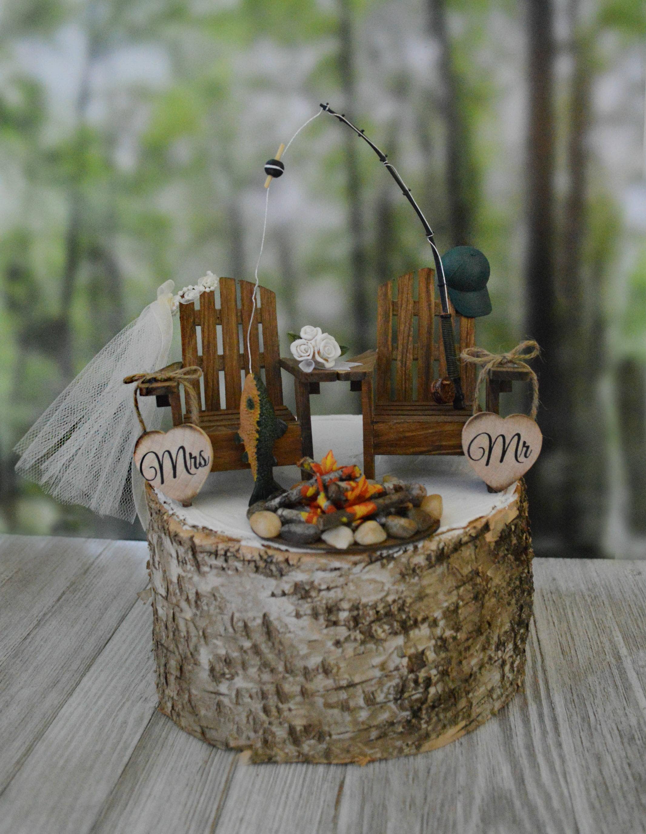 Fishing pole fishing themed wedding cake topper camping