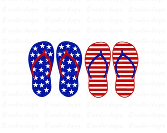 Patriotic Flip Flops SVG, Fourth of July SVG, 4th of July Svg, Patriotic SVG, America Svg, Cricut Files, Silhouette Files