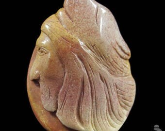 Indian and Wolf Head Pendant carved in Succor Creek Jasper