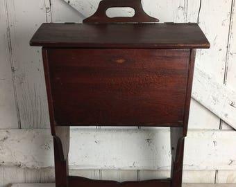 Antique Large Wood Sewing Box Basket free standing large wooden storage box