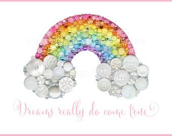 St. Patrick's Day Rainbow Wall Art PRINT Nursery Rainbow Decoration Gender Neutral Nursery Colorful Nursery Decor Rainbow Button Art