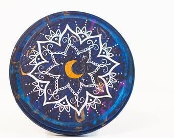 Mandala wood sign, mandala art, boho wood sign, bohemian wood sign, galaxy wood art, galaxy art, colorful mandala art, fluid acrylic art