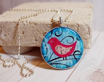 Bird poker chip pendant, bird jewelry, music necklace, poker chip jewelry, colorful pendant, bird gift, gift for her, game piece jewelry
