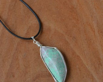 Variscite Necklace, On Sale, Variscite Jewelry, Wire Wrapped Variscite, Mint Stone, Utah Variscite, Long Cord Necklace, Christmas Gift