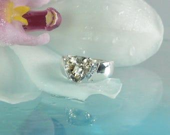 Unisex Engagement Ring ,Trillion Ring, Triangle Ring, Aquamarine Ring, Unique Gemstone Ring, New York Gemstone, Handmade Ring, Custom Ring