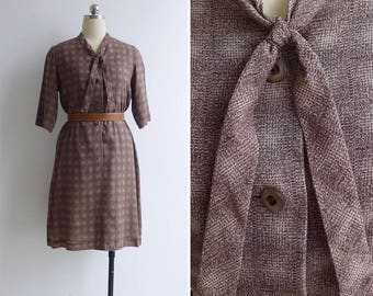 10-25% OFF Code In Shop - Vintage 80's 'Crosshatch' Brown Abstract Print Tie Collar Dress M or L