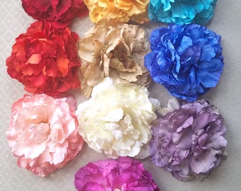 Deluxe Peony Hair Flower Clip & Pin - 10 Color Choices!