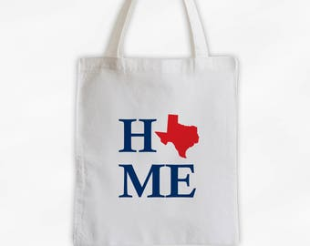 Home State Canvas Tote Bag - Welcome Home to Texas Bag in Red and Navy Blue Reusable Tote - Choose Any State (3024)