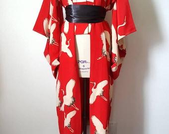 Red Nagajuban with Flying Crane Print - Kimono Robe Duster - M/L