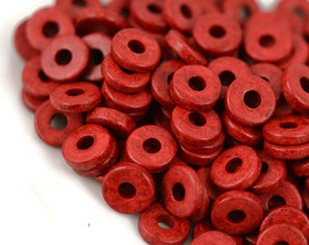 Mykonos 8mm Washer Round - Red - Greek Ceramic Beads - QTY: 50, 100 or 150