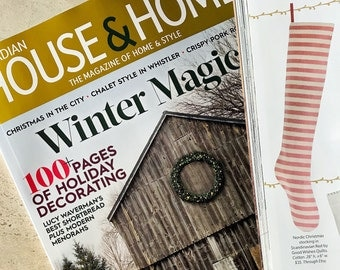 Canadian House and Home Magazine Christmas Stocking Personalized Christmas Stocking, Nordic Scandinavian Red Striped Long Christmas Stocking