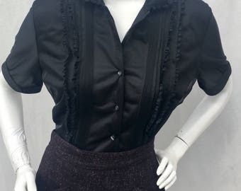 Large Vintage 1950s 50s Black Sheer Nylon Ruffle pleated blouse W/Lucite buttons