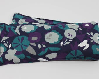 Neck & Shoulder Rice Bag - 4.5 x 21 inches, hot or cold therapy pack, navy, abstract floral pattern, rice heating pad